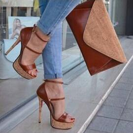 Trendy Brown Heel Women Sandals Cut out Buckle Strap Open Toe Platform Heels Ladies Dress Shoes Gladaitor 2019 High Heels Pumps - 5