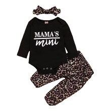 Neue 3-18M Frühling Mädchen Leopard Outfits Mädchen Oansatz Langarm T-Shirts Baby Tops Hosen Stirnband Set Kleinkind outfit