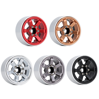 "INJORA CNC Aluminum 1.9"" Beadlock 6-Spokes Wheel Rim for 1/10 RC Crawler Traxxas TRX4 Axial SCX10 90046 AXI03007 Redcat Gen8 2"