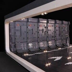 Moc-Model 327-Hanger Docking Bay Space-War-Toys Super-Spaceship Building-Blcoks Diy