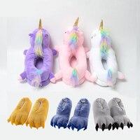 Тапочки с единорогом мультяшная коготь животного кигуруми Пижама-ползунки обувь для детей и взрослых Kawaii Забавный Повседневный стиль косп...
