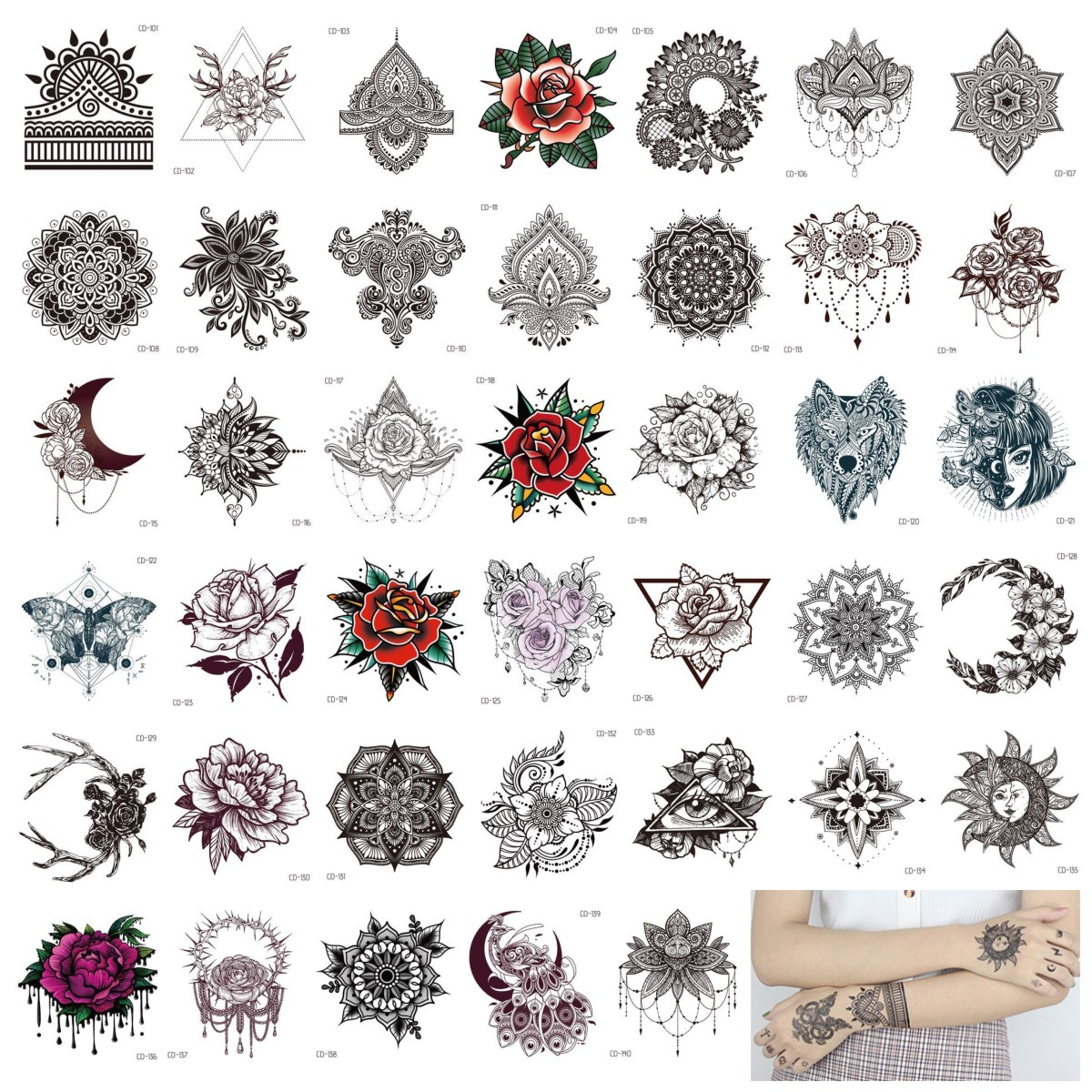 40pcs Henna India Tattoos Sticker Black Temporary Tattoo Paper Mandala Flower Rose Fake Tatto Stickers Hand Arm Foot Body Art