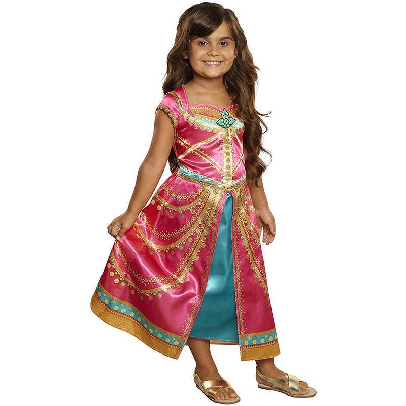 Bé Gái Aladdin Hoa Nhài Đầm Công Chúa Trẻ Em Trang Phục Hóa Trang Halloween Màu Hồng Fuchsia Lạ Mắt Bộ Trang Phục