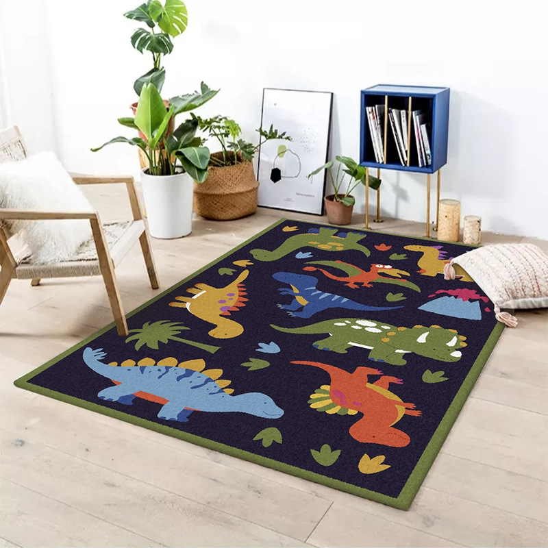 Cartoon Dinosaur Printed Baby Kids Crawling Area Rugs Blanket Game Play Non-Slip Mat Floor Carpet Children Bedroom Decor Tapete