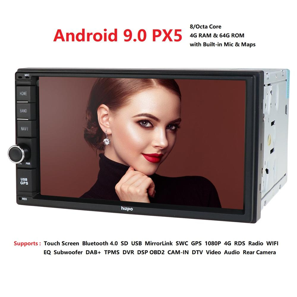 Newest Hizpo <font><b>4GB</b></font> <font><b>RAM</b></font> 64G ROM 2Din HD 7''Android9.0 Universal <font><b>Car</b></font> <font><b>Radio</b></font> Audio Stereo GPS Navigation Media Player Tape recorder BT image