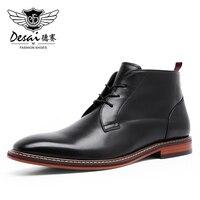 Desai Men Motorcycle Boots Vintage Combat Boot Winter Fur 2020 New Cow Split Leather Genuine Leather Military Boots Men Shoes