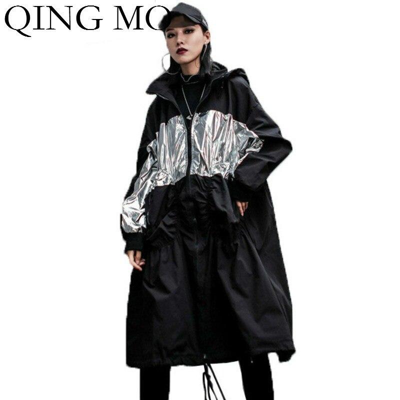 Black Loose Women Hooded Coat 2019 Women Casual   Trench   Coat Oversize Women Patchwork Color Coat Drawstring Coat Black ZQY1767