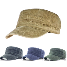 Military Hats Adjustable Vintage Washed-Caps Flat-Top Wome Classic Mens Winter And