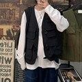 2021 Mens Fashion Tooling Vest Men Streetwear Cargo Vest Hip Hop Sleeveless Jacket Gilet Military Multi-Pocket Outdoors Coat