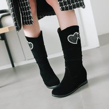 Big Size 11 12 13 Ladies round head flat with fashion casual warm water drill in the tube high ankle boots(China)