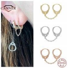 Cner prawdziwe 925 Sterling Silver osobowość kajdanki Hoop kolczyki Ear buckle kolczyki kobiety kolczyk do piercingu biżuteria pendientes
