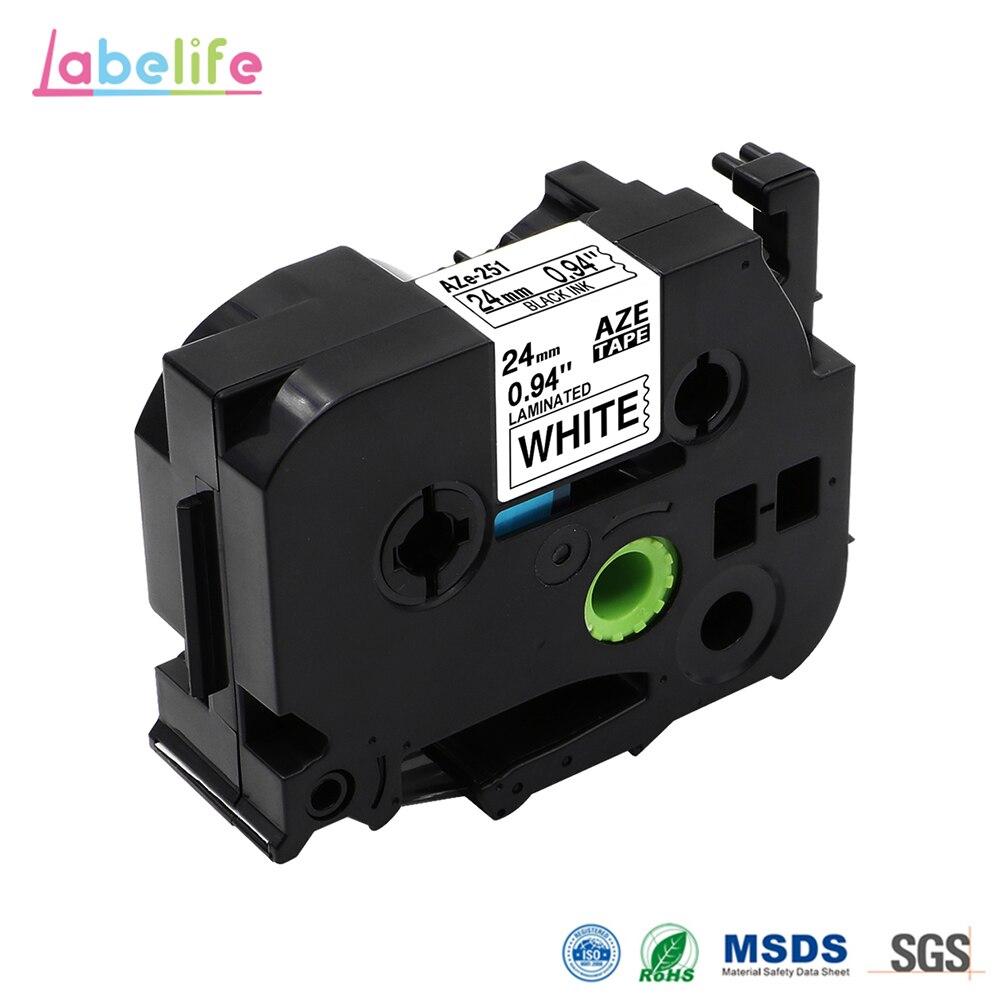 Labelife 1Pcs 24mm Tze-251 Compatible With Brother P-touch Label Printer PT-D600 TZe251 TZ251 TZe 251 For PT-P700 Label Maker