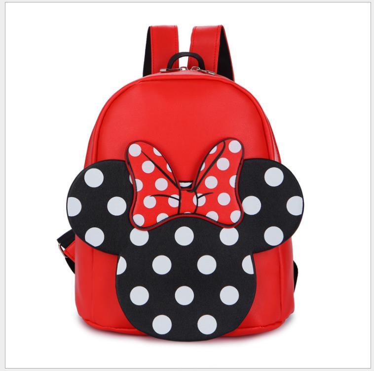 Children's Backpack Cute Mickey Cartoon Minnie Kindergarten School Bag Boys And Girls Lovely Bowtie Mochilas Gifts