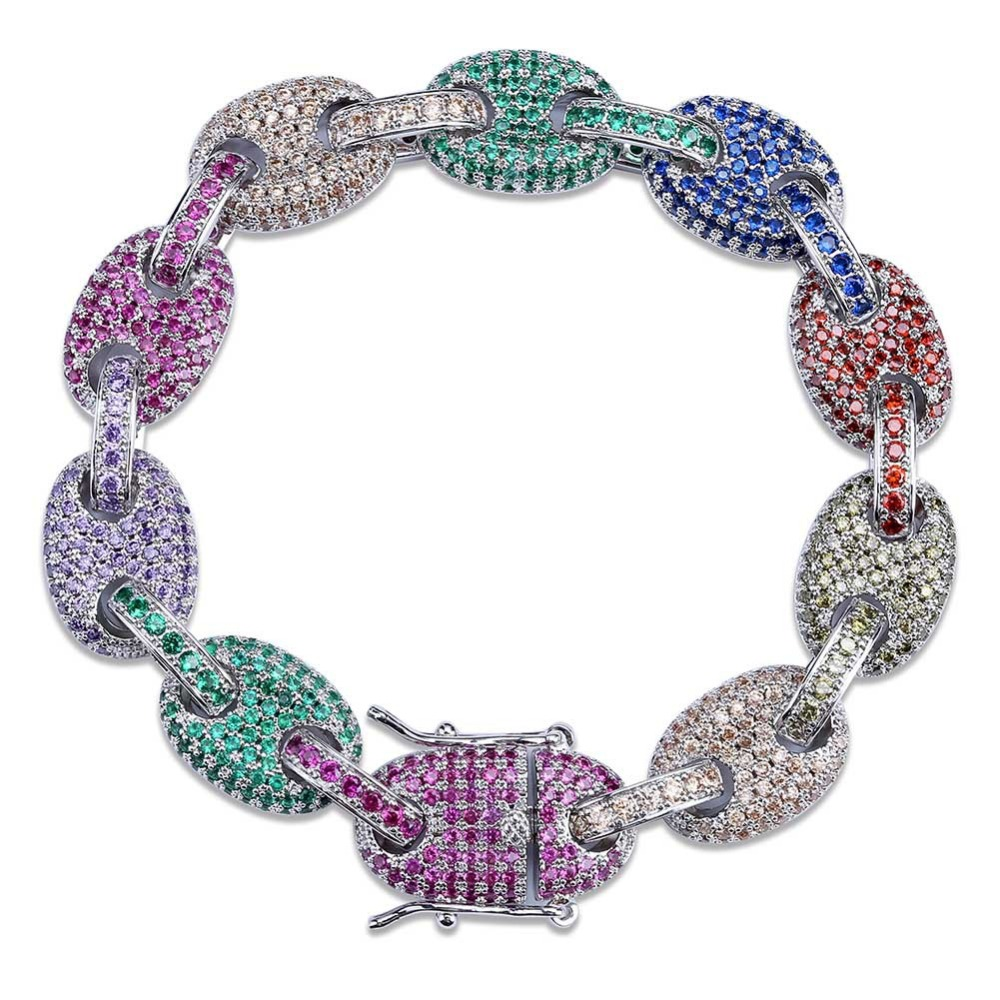 Hommes/femmes mode Hip Hop bijoux Micro Pave coloré cubique zircone solide bouton chaîne arc-en-ciel Bracelet 7 8 pouces - 2