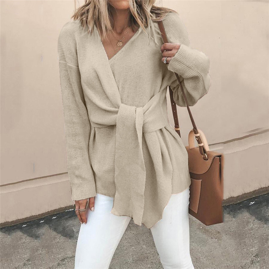 Autumn Winter Female Pullover Women's V Neck Knitted Long Sleeve Wrap Front Loose Bandage Sweater Coat Blouse Loose Warm Jumper