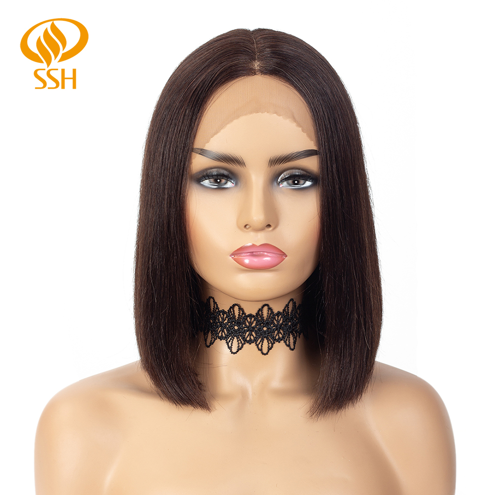 Lace Part Human Hair Wigs For Black Women Brazilian Straight Lace Wig Short Bob Remy Hair Wigs Pre Plucked Hairline Double Drawn