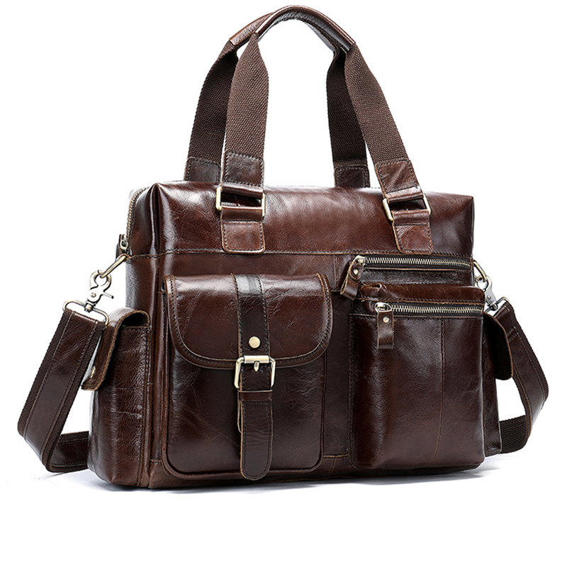 Vintage Genuine Leather Men's Briefcase Classic Leisure Shoulder Bag For Male Wild High Capacity Multifunction Men Handbags