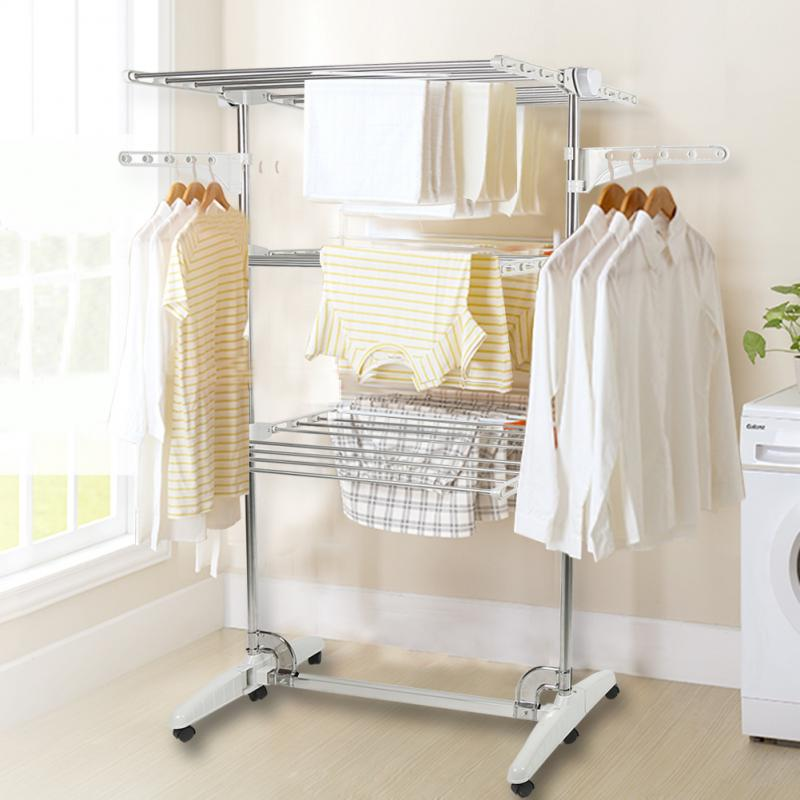 142*82*50cm 3 Tiers Movable Drying Clothes Rack Foldable Stainless Clothes Horse Drying Racks Floor Standing Coat Rack HWC