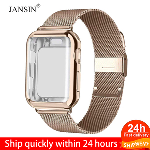 Milanese Loop band with case For Apple Watch Series 5/4/3/2 38mm 42mm 40mm 44mm Stainless Steel Strap Wrist Bracelet for iwatch(China)