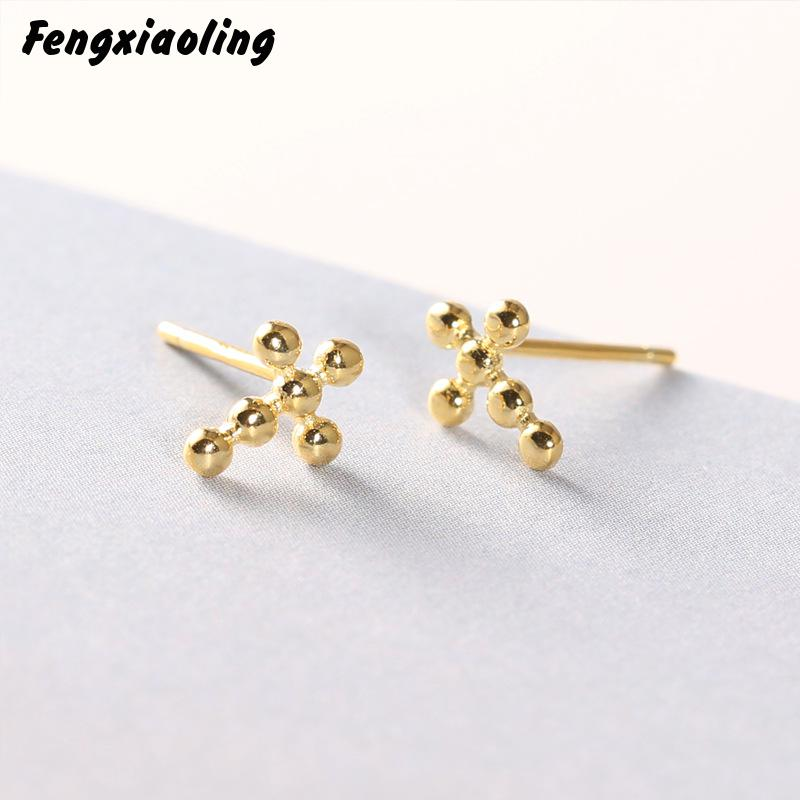 Fengxiaoling New Real Silver Simple Bead Cross Stud Earrings For Women 925 Sterling Silver Earings Fashion Jewelry Birthday Gift