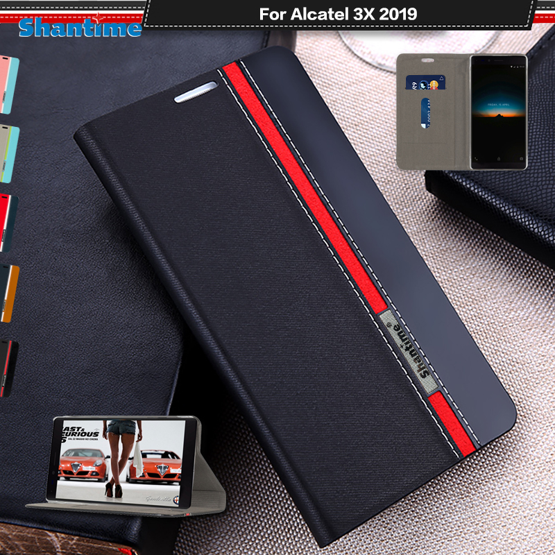 Luxury PU Leather Case For Alcatel 3X 2019 Flip Case For Alcatel 3X 2019 Phone Case Soft TPU Silicone Back Cover(China)