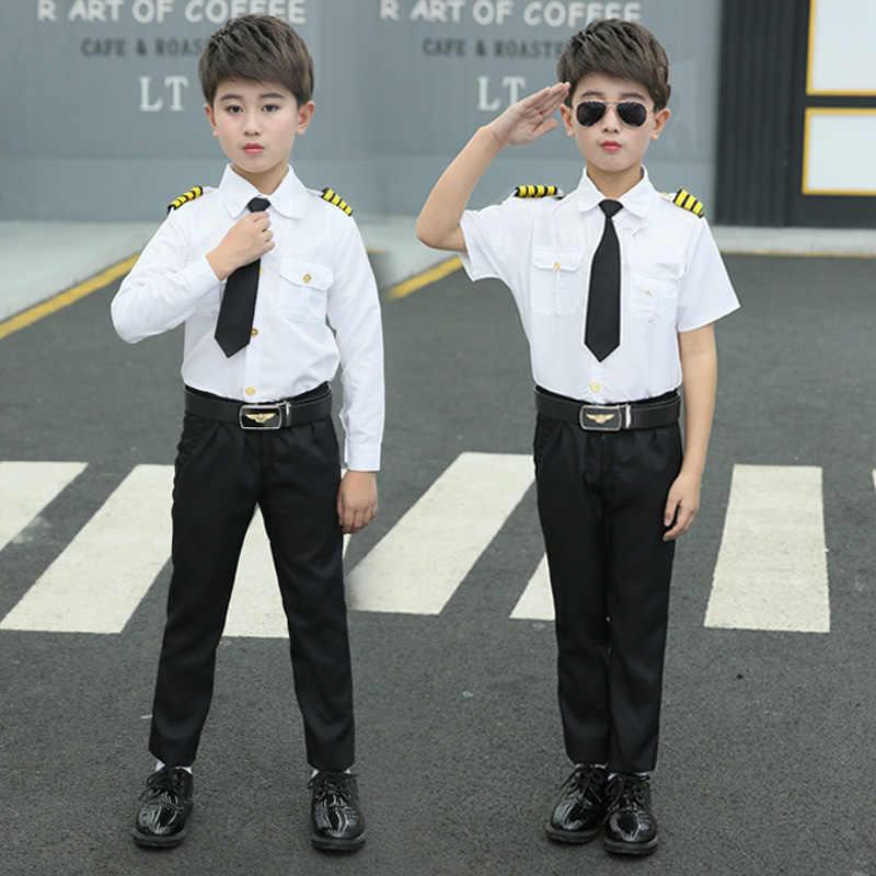 Pilot mundur stewardesa Cosplay kostium na Halloween dla dzieci chłopcy dziewczęta przebranie kapitan Performance Show