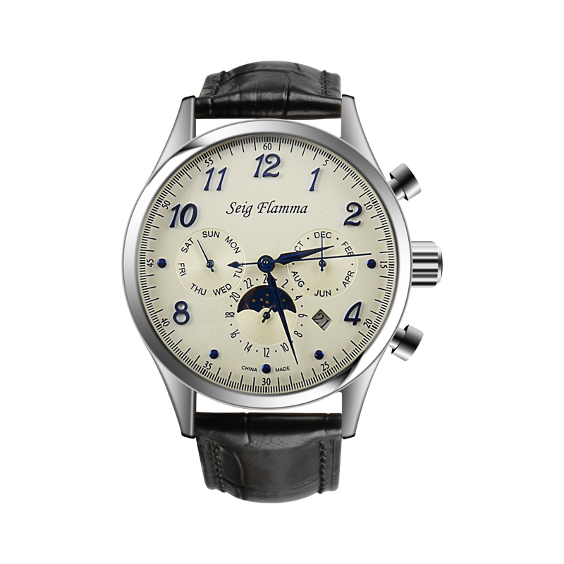 Retro Men's Waterproof Automatic Machinery Multifunctional Calendar Monthly  Chinese Seagull Motorcycle Watch