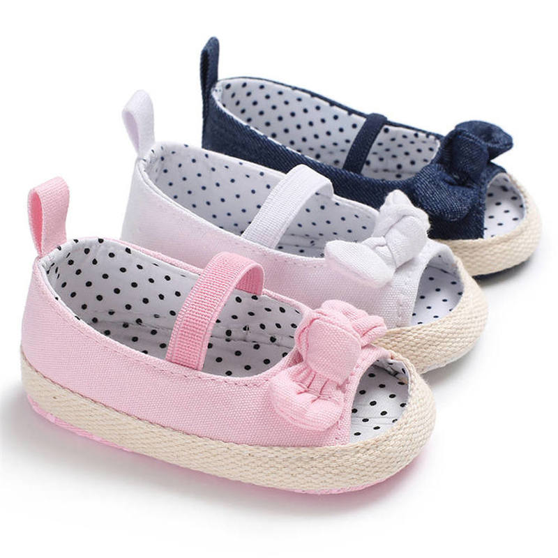 Baby Girl Shoes Infant Crib Shoes Cute Princess Bowknot Polka Dot Inside Soft Sole Peep-toe Newborn Toddler Girl Moccasins Shoes