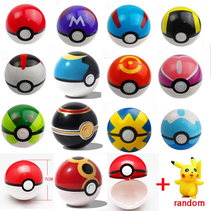 1Pc Pokeball + 1pc Pokemon Figure All'interno 1:1 Anime action Figures e Giocattoli Casuale Libero Regalo Di Natale per I Bambini