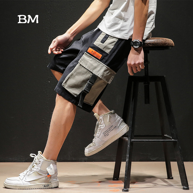 Summer Streetwear Kpop Cargo Shorts Men Korean Style Fashion Clothing Harajuku Cotton Shorts Hip Hop Sporting Casual Plus Size