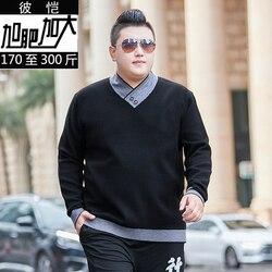 10XL 8XL мужской свитер, Повседневный пуловер с v-образным вырезом, Мужская Осенняя приталенная рубашка с длинным рукавом, мужские свитера, вяза...