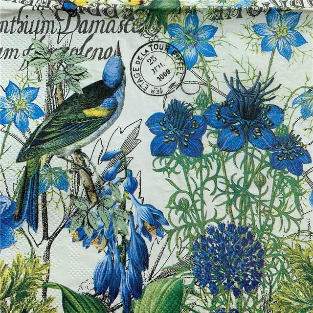 Decoupage bruiloft servilletas servetten papier elegante tissue blauwe bloem vogel x-mas verjaardagsfeestje mooie decor 20 3-pl