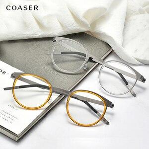 Image 5 - 브랜드 디자인 티타늄 안경 프레임 남자 금속 빈티지 라운드 처방 안경 근시 광학 안경 스펙타클