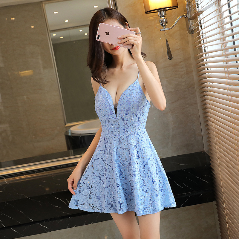 2019 summer new Korean style low-cut <font><b>sexy</b></font> lace halter deep v night field big swing umbrella strap <font><b>mini</b></font> <font><b>dress</b></font> Office Lady image