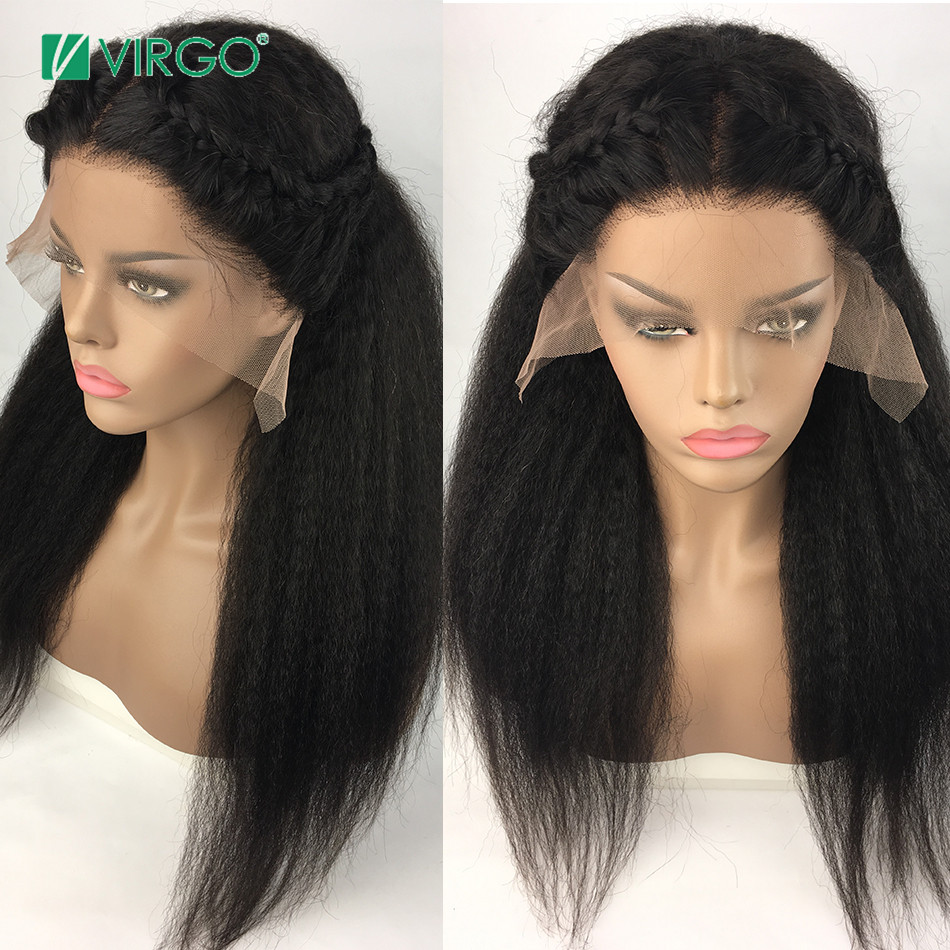 Virgo Kinky Straight Wig Glueless Peruvian Lace Front Human Hair Wigs For Black Women Pre Plucked Remy Hair 13X4 Wig