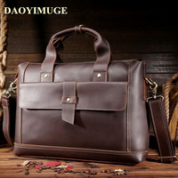 Crazy horse leather Men Bags layer cowhide shoulder bags laptop leather handbag