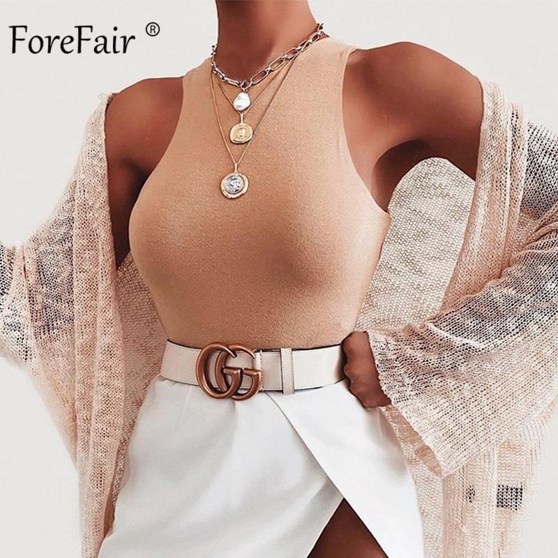 Forefair Sexy Bodysuit Women Summer Bodycon Sleeveless Solid O Neck Skinny Bodysuit Women