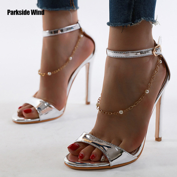 Parkside Wind Women 2020 Summer Sandals Fashion 12 CM Super High Thin Heels Open Toe Gold Silver Chain Ladies Shoes XWC6660-4 image