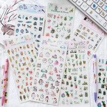 Decorative-Stickers Notebook-Decoration Mini Kawaii Cat 1-Sheet Starry Fruit-Drink Cactus