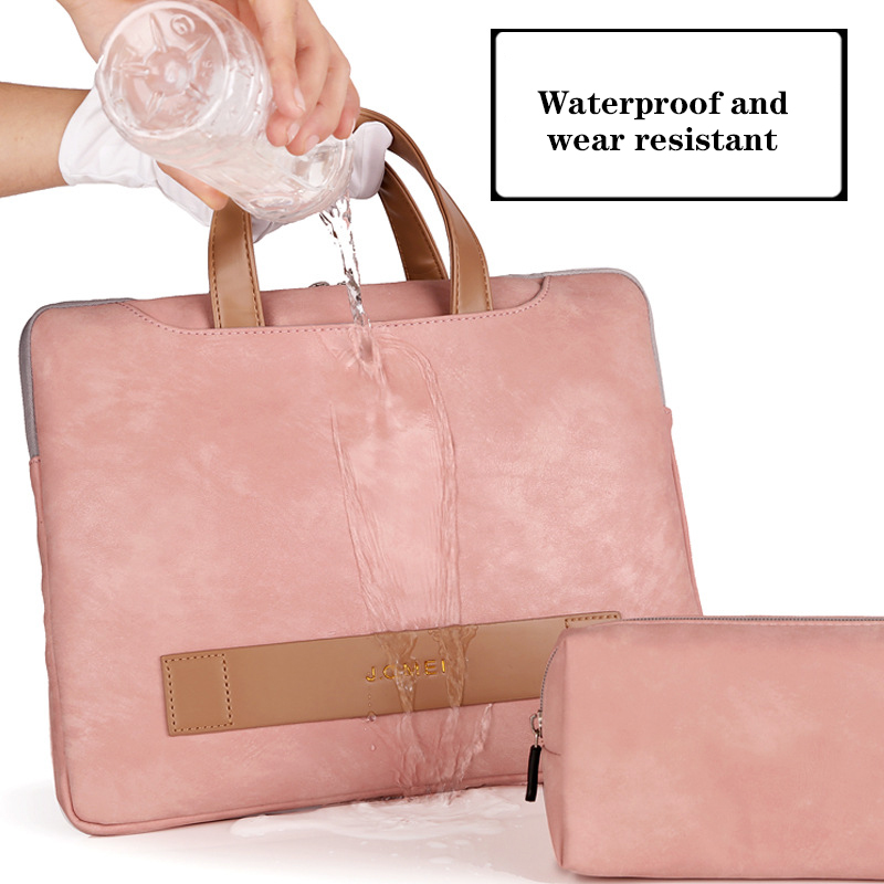 Portable Light Pu Leather Laptop Bag Women 13.3-15.6 Inch Women's Briefcase Laptop Handbag Woman Tote Notebook Bag Business Pink