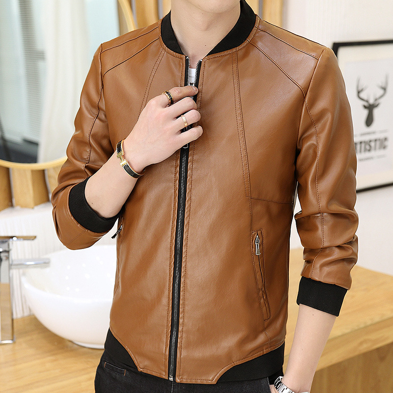 2018 Autumn New Products Youth Stand Collar Leather Coat Korean-style Slim Fit Trend Handsome PU Leather Jacket Fashion Men'S We