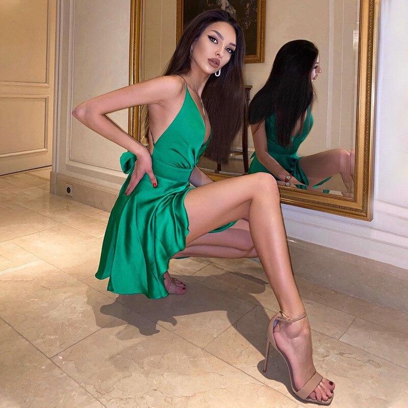 Cryptographic Satin Sexy Backless Sleeveless Party Night Club Wrap Mini Dresses Spaghetti Straps Elegant Dress Solid Vestidos 1
