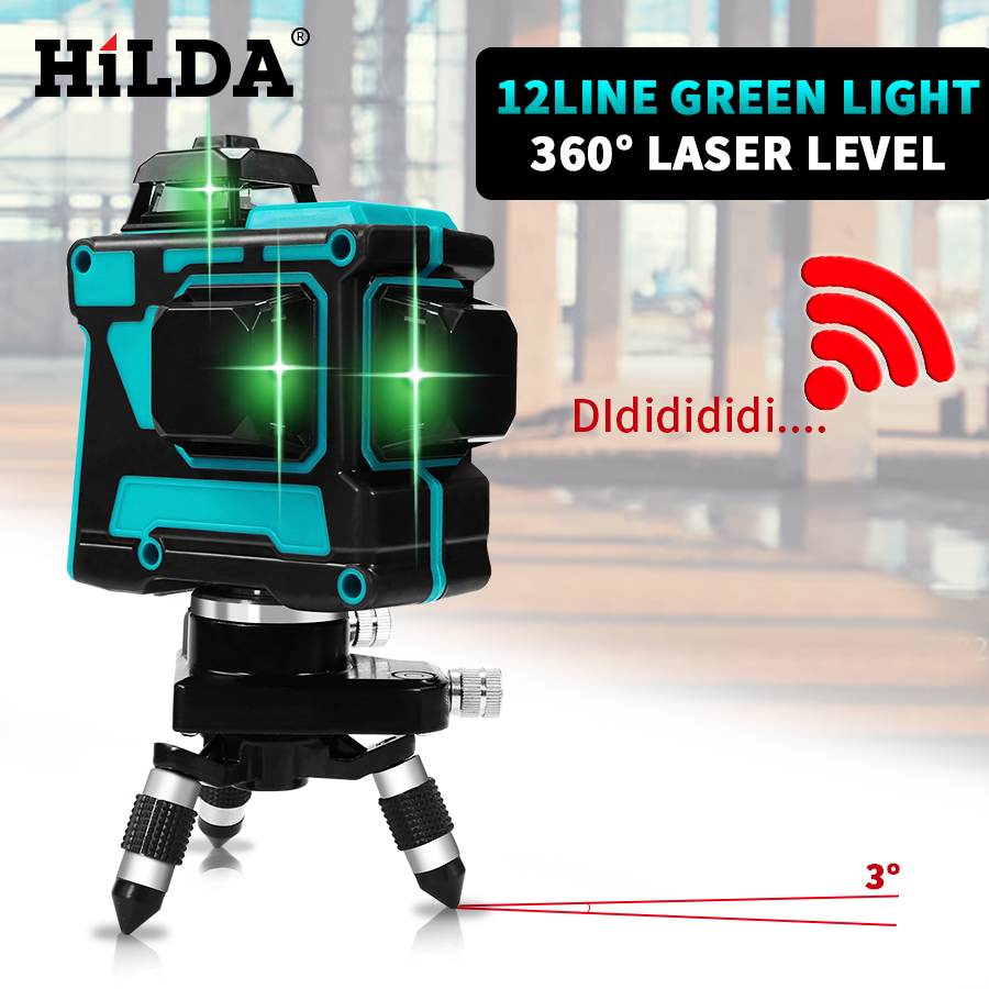 Niveau Laser HILDA 12 lignes niveau 3D auto-nivelant 360 Horizontal et Vertical croix Super puissant niveau Laser vert - 5
