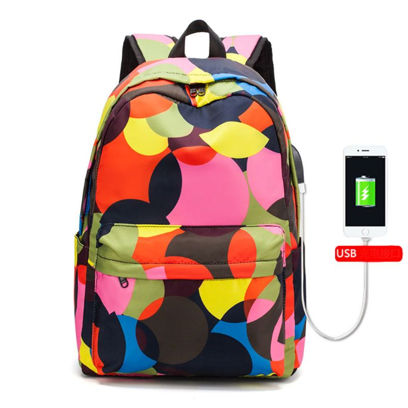 Unisex PU Leather Backpack Colorful Camo Print Womens Casual Daypack Mens Travel Sports Bag Boys College Bookbag