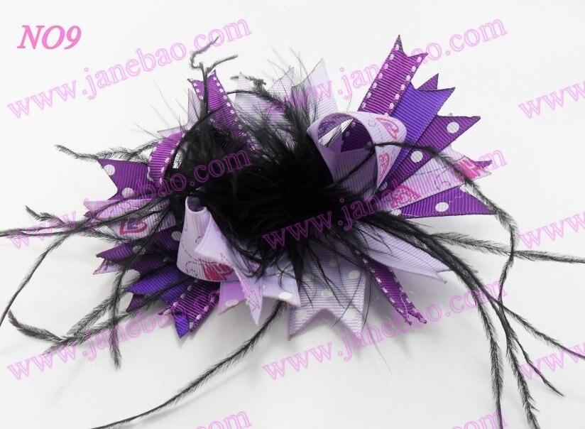 500 шт, новинка, 4,5 дюймов, бант для волос из перьев, модный бутик для девочек, банты для волос с животным принтом, банты из ленты