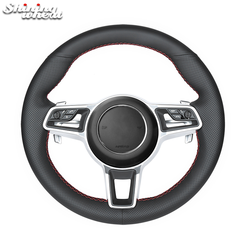 Shining wheat Black Genuine Leather Car Steering Wheel Cover for Porsche Macan Cayenne 2015 2016