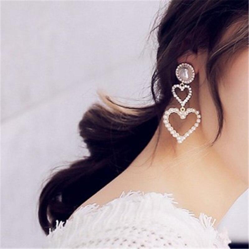 Korean character temperament heart lace pearl long earrings Pendant  jewelry