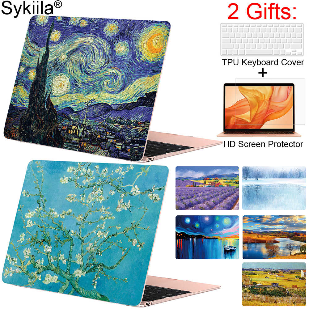 Case untuk MacBook Air 11 13 Pro 12 13 15 16 Penutup Oil Seni Cat Shell A1989 A2159 A2179 Sentuh bar 2019 2020 Gogh Marmer Lucu