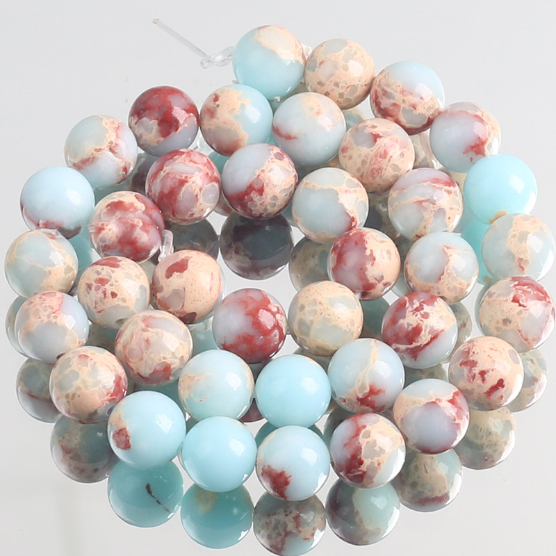Natural Blue Snakeskin Shoushan Jaspers Stone Beads Round Loose Spacer Beads For Jewelry Making DIY Bracelet 4/6/8/10/12mm 15