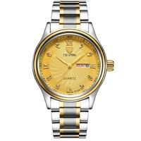 TEVISE Luxury Week Day Date Watch Men Waterproof Fashion Quartz Stainless Steel Wrist Watches for Men relogio masculino